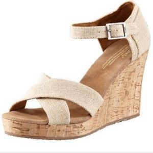 Tom's Sienna Wedge Espadrille Sandals Heels 8